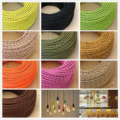 Vintage Fabric Colour Twisted Silk Braided Lighting Cable Flex 2 core 0.75mm UK