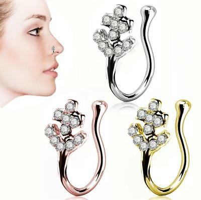 Nose Cuff Faux Clip On Silver,Gold Silver Nose Hoop,Fake Nose- Ring No Piercing