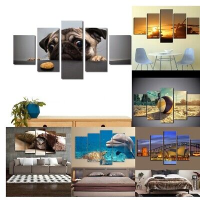 5 Panels Framed Wall Art Sunset Ocean Animal Picture Paint Printed on Canvas