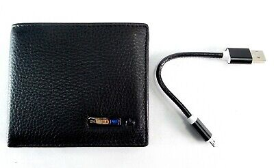 Smart LB Anti-Lost Bifold Cowhide Leather Wallet with Alarm Bluetooth Black