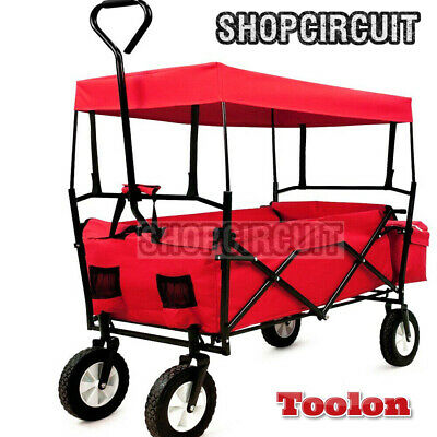 Toolan™ Folding Festival Trolley Cart Large Pull Along 4 Wheel Wagon Picnic Roof