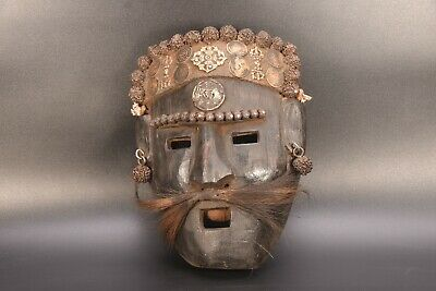 Wooden Shamanic Shaman Mask Antique Carved Tibetan Himalayan Ban Jhakri ,Nepal