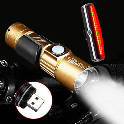XPG-R5 LED Bike Front Light LED  Bicycle Cycle USB Rechargeable Head Lamp Set