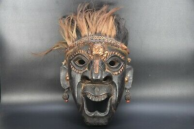 Demon Protector Tibetan MASK Handmade Wooden Face Wall Hanging Old Vintage Nepal