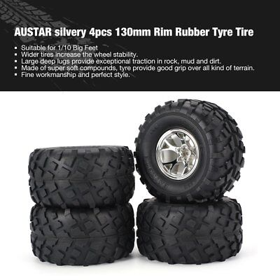 AUSTAR 4pcs 130mm Rim Rubber Tyre Tire Wheel for 1/10 RC Bigfoot Cars Model th