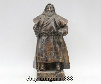 Chinese Ancient Bronze Mongolia King Leader Genghis Khan Jenghis Khan Statue
