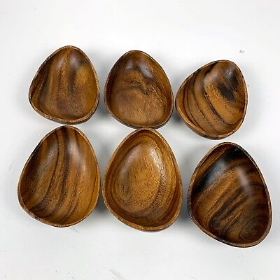 Vintage Mid Century Modern Wood Serving Salad Dish Bowls Island Tiki Set of 6