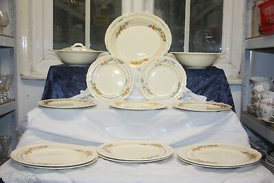 Lovely Grindley Creampetal Dinner Service c 1930's 15 pieces Floral