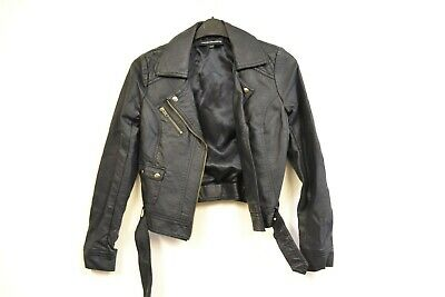 eedd3bf6f635 WOMENS FRENCH CONNECTION Black Leather Jacket UK size 10 **STH8/3sb ...