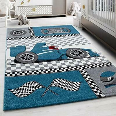 Childrens Bedroom Mat Grey Blue White Kids Race Car Formula Rug Nursery Carpets