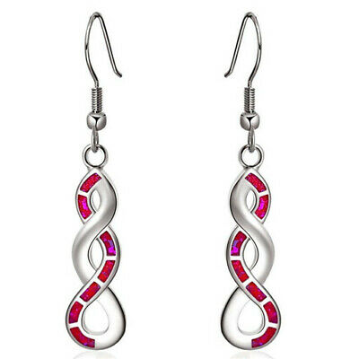 1 Pair Woman Fashion 925 Silver Jewelry Red Fire Opal Charm Earring Pendant ~~~