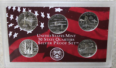 2001 QUARTER Proof SILVER Statehood Set 5 Coins No Box 25 Cents Made In America
