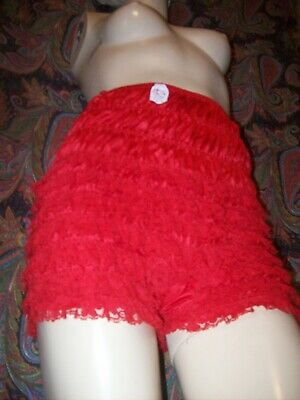 Vintage Malco Modes Red Nylon Double Gusset Lacy Ruffled Panty Panties Lingerie