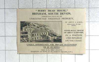 1935 Brixham, South Devon, Berry Head House For Sale
