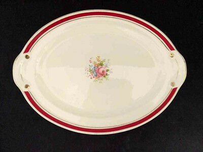 """Taylor Smith & Taylor China Red Floral Gold 15"""" OVAL PLATTER RARE"""