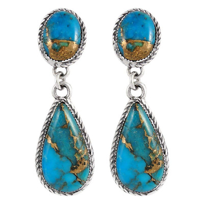 1 Pair Woman fashion 925 Silver Jewelry turquoise Charm Earring Pendant NEW ~~!