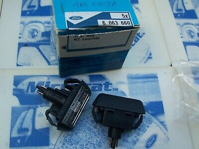 2 New Genuine Ford Escort Mk2 Number Plate Light Fiesta Mk1 Sport RS XR Ghia NOS