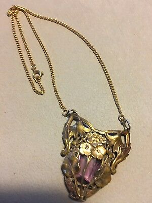 Antique Victorian Art Deco Nouveau Brass Repousse Flower Pendant Purple Glass