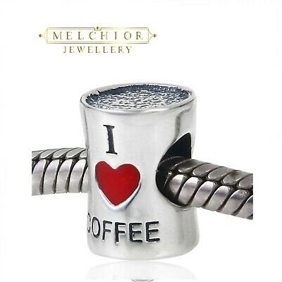 Solid Sterling Silver LOVE COFFEE CUP Bead For European Charm Bracelet Boxed