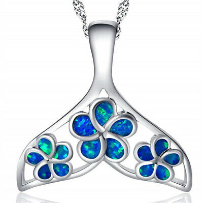 Fashion Woman 925 Silver Mermaid Blue Fire Opal Charm Pendant Necklace Chain ~~!