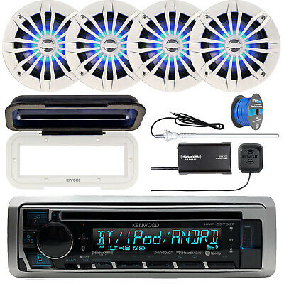 Kenwood Marine CD Bluetooth Radio + Cover, 4x LED Speakers, Tuner, Antenna, Wire