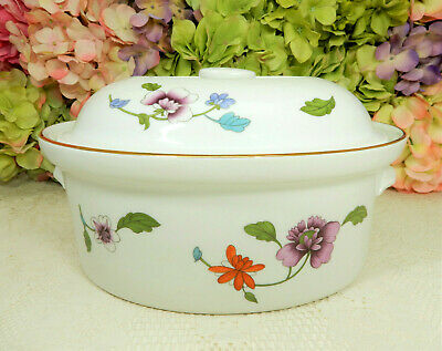 Beautiful Royal Worcester Porcelain Large Covered Casserole ~ Astley ~ Flowers