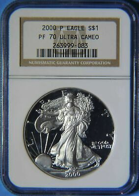2000 P Proof American Silver Eagle 1oz NGC Graded PF70 Ultra Cameo