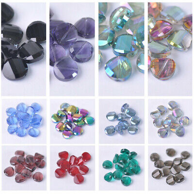 10pcs Faceted Crystal Glass Loose Twist Coin Beads lot 12mm 14mm 18mm