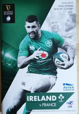 March 2019 Ireland v France Six Nations rugby match programme Dublin