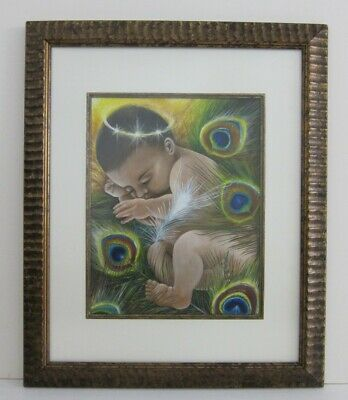 Janie Olsen 'Mild He Lay' Signed Acrylic Painting Baby Jesus in Peacock Feathers