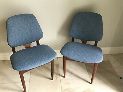 Pair of Vintage Retro Mid Century Teak Danish Style Dining Chairs x
