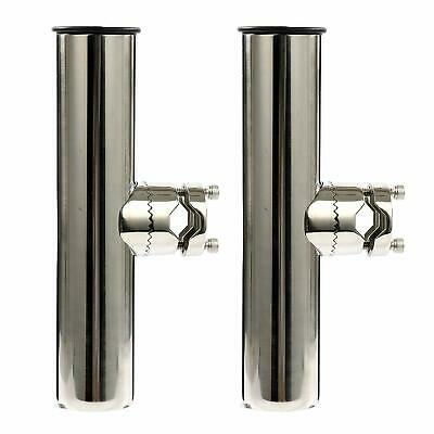 """2 Pairs Fishing Rod Holder Lower Clamp on for Rails 7//8/"""" to 1/"""" Stainless Steel"""