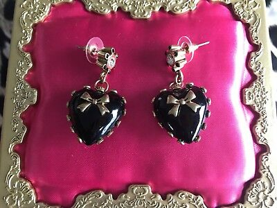 Betsey Johnson Vintage Miami Chic Black Lucite Heart Gold Bow Studded Earrings