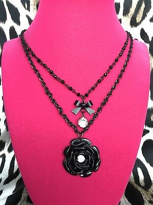 Betsey Johnson Vintage Black Lucite Rose Crystal Bow Charm Necklace RARE