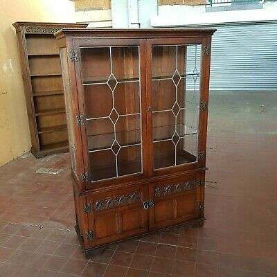 Old Charm Furniture Leaded Lite Glazed Display Cabinet/dresser/wall Unit Cabinet