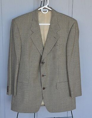 Yves Saint Laurent Mens Blazer Coat 100% Wool - Size Xl 46 - Tan Plaid - $395