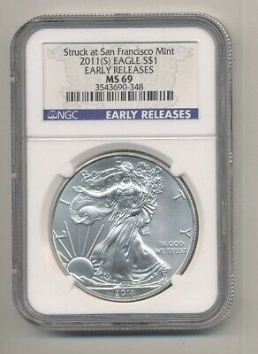 2011-S American Silver Eagle 1 oz Coin NGC MS 69 Early Releases Exact Shown