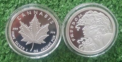 Original Sbss 1 Oz .999 Silver Proof Round Coin Freedom Girl - Cannabis Rare Hot