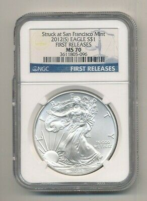 2012-S American Silver Eagle 1 oz Coin NGC MS 70 First Releases Exact Shown