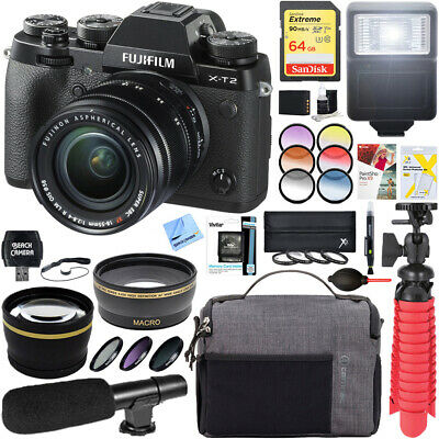 Fujifilm X-T2 4K Mirrorless Digital Camera +XF 18-55mm Lens Deluxe Accessory Kit