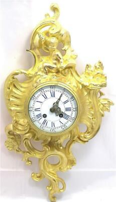 Lovely Antique French 1870's Embossed Gilt Bronze Striking Cartel Wall Clock
