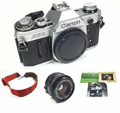Canon AE-1 Film SLR Camera 35mm Silver, FD 50mm f1.8 Lens & Manuals, WORKS!