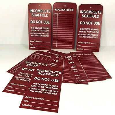 Completed Scaffold Red Tags Opened Package (25) Safety OSHA Etiqueta Roja