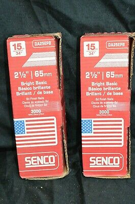 "LOT (2) Senco Finish Nails Bright Smooth Shank 2-1/2"" 15ga 34* Case 65mm 3000ct"