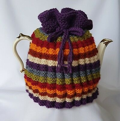 TEA COSY, Hand Knit, for Large Tea Pot, Inspired by Dr Who scarf, Multi Stripe