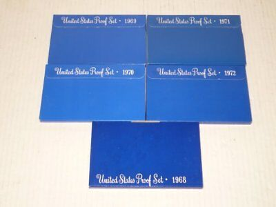 United States Un-circulated Proof Sets FIVE Years 1968-1972