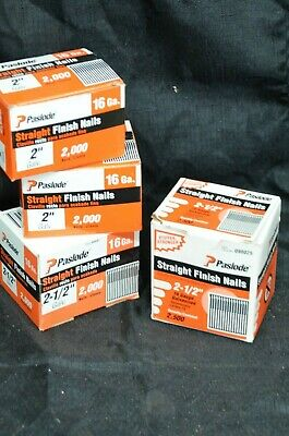"LOT (4) Paslode Finish Nails 2-1/2"" & 2"" STAIGHT 16ga Box Case 090025 Finishing"