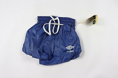 49aaa68ebc Vintage 80s New Umbro Youth Small Spell Out Nylon Soccer Shorts Solid Blue