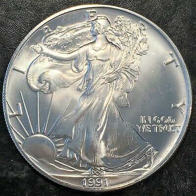 1991 Uncirculated American Silver Eagle US Mint Issue 1oz Pure Silver #H636