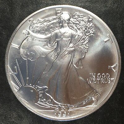 1991 Uncirculated American Silver Eagle US Mint Issue 1oz Pure Silver #G223